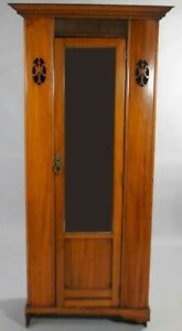 Antique Aesthetic Movement Mirrored Wardrobe Cabinet Or Armoire