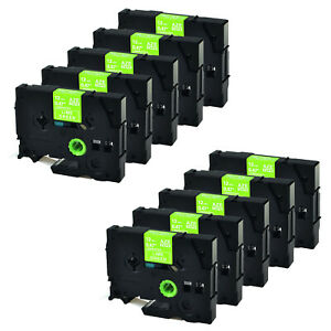 10 Pack Tze Mqg35 Tz Mqg35 White On Lime Green For Brother P touch Label Tape