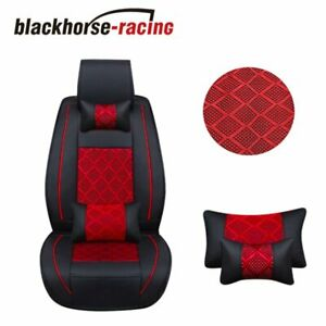 Front Rear 5 Seat Suv Seat Cover Cooling Mesh Pu Leather Car Cushion W Pillow