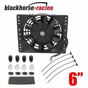 6 slim Push Pull Electric Cooling Fan Radiator Mount Kit 650cfm Universal Black