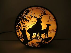 Vintage Etched Bronze Wall Sconce Amber Mica Shade Woodland Scene