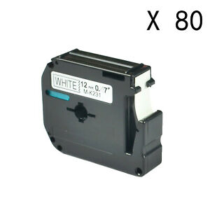 80pk M231 M k231 Mk231 Black On White 12mm Label For Brother P touch Pt 65