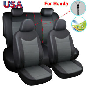 11pc Pu Leather Zippers Car Seat Cover Full Set Fit For Honda Crv Hrv Insight Us