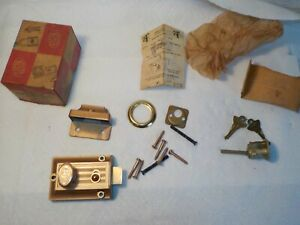 Vintage Elgin Cylinder Rim Night Latch No 5818 Deadbolt With Key And Screws