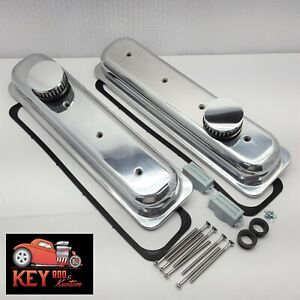Small Block Chevy Short Center Bolt Valve Covers Smooth Polished Aluminum Vortec
