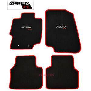 Fits 04 08 Acura Tl 4dr Nylon Floor Mats Carpets Front Rear W Red Trim