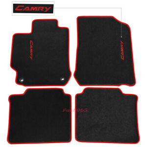 Fits 12 17 Toyota Camry Black Nylon Floor Mats Carpets W Red Camry