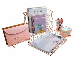 Pag Rose Gold Office Supplies 5 In 1 Metal Desk Organizer Set Rose Gold