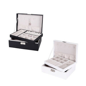 2piece Jewelry Box Organizer Dual Layer Cases For Earrings Necklace W Lock