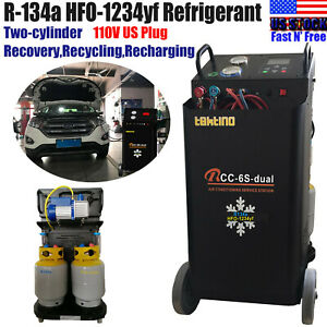 R 134a 1234yf Ac Twin Refrigerant Recovery Machine Recycle Vacuum Recharge 110v