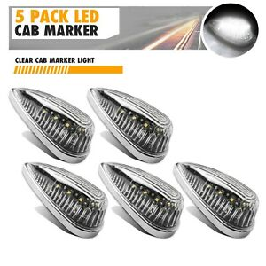 5x Led White Teardrop Sealed Top Clerance Cab Marker Roof Running Lights Utility