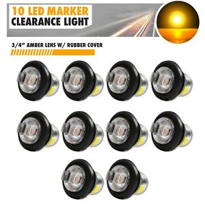10x 3 4 Clear Lens Amber Light Led Marker Bullet Lights Lamps Truck Trailer Bus