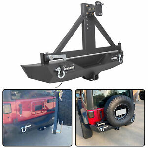Rock Crawler Rear Bumper Winch Plate Led tire Carrier For 07 18 Jeep Wrangler Jk