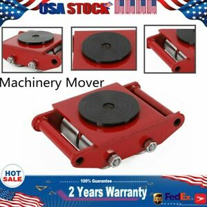 6t 13200lb Industrial Machine Dolly Skate Roller Machinery Mover Rotation Cap