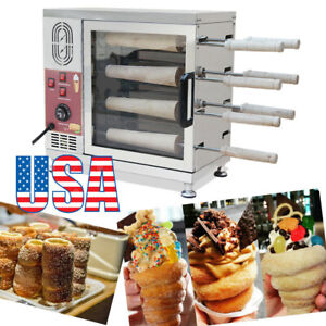 Commercial Electric Ice Cream Cone Chimney Cake Kurtos Kalacs Roll Oven Machine