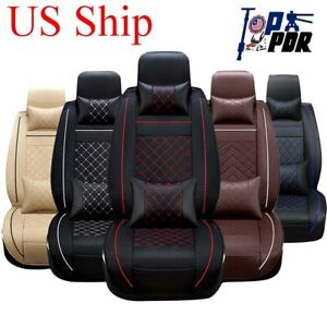 Luxury Pu Leather Car Seat Covers Cushions Universal 5 Sits Front Rear Interior