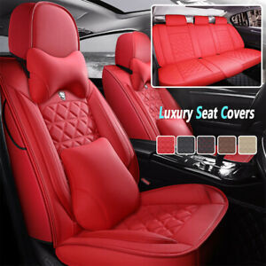 Red Luxury Pu Leather Car Seat Covers 5 Sit Set Cushion Universal Protector Soft