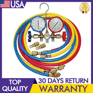 59 In R 410a Dual Manifold Diagnostic Gauges 3 colors Coded Charging Hoses Hvac