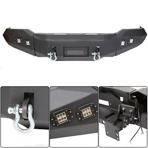 For 2007 2013 Toyota Tundra Front Bumper Steel Winch Ready W D Rings Lights