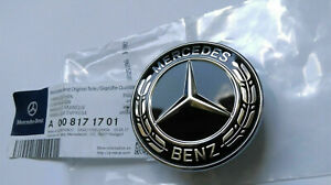 For Mercedes Benz Hood Black Flat Laurel Wreath Emblem 57mm