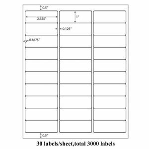 Address Labels Sheets Amazon Fba Labels 30 Per Sheet 30up 1 X 2 5 8 1000 3000