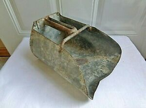 Antique Vintage Galvanized Tin Metal Grain Feed Scoop Farm Barn Primitive Tool