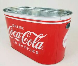 Coca Cola Coke Ice Bucket Large Oval Galvanized Metal Tin Party Tub Cooler 16