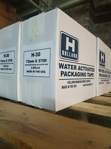 Gummed Tape reinforced 1 Case 8 Rolls 375 Ft 72mm Holland Brand H 30