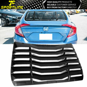 Fits 16 19 Honda Civic Sedan Ikon Type Window Scoop Louver Sun Shade Cover Abs