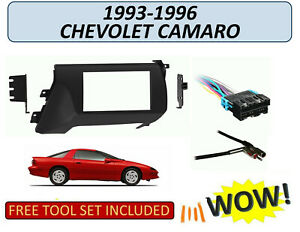 Fits 1993 1996 Chevrolet Camaro Double Din Car Stereo Install Kit W Harness