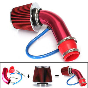 3 Car Cold Air Intake Filter Alumimum Induction Kit Pipe Hose System Set Red