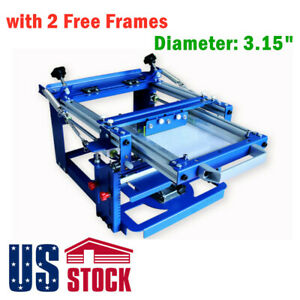Manual Cylinder Curved Silk Screen Printing Press For Pen Mug With 2 Frames us