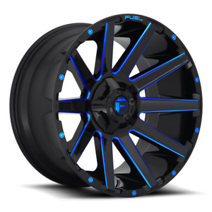 4 20x9 Fuel Gloss Black Blue Contra Wheel 6x135 6x139 7 For Ford Toyota Jeep