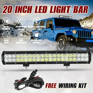 20 Inch 126w Led Work Light Bar Flood Spot Combo Offroad Car Driving Lamp Wire