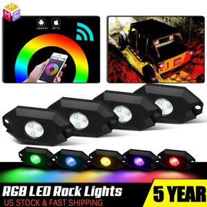 4 Led Rock Lights Wireless W bluetooth Music Rgb Color Accent Under Car