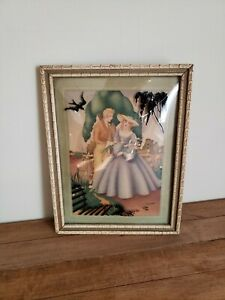 Vintage Convex Glass Reverse Painted Silhouette Courting Picture Sandre