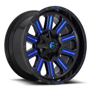 4 20x10 Fuel Gloss Black Blue Hardline Wheels 6x135 6x139 7 For Toyota Jeep