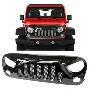 Gloss Black Abs Front Hood Grill W Mesh Grille For Jeep Wrangler Jk 2007 2018