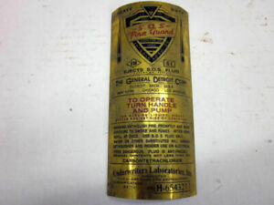 Mb Gpw Willys Ford Wwii Jeep G503 Brass Fire Extinguisher Data Plate