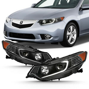 For 09 14 Acura Tsx Cu2 Led Light Tube Drl Projector Replacement Head Lamp Black