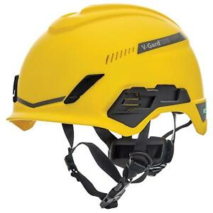 Msa V gard H1 Vented Safety Helmet Hard Hat With Fas trac Suspension Yellow