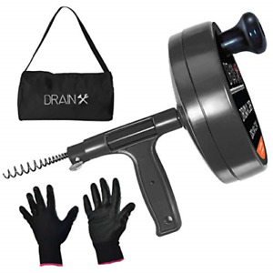 Pro Steel Drum Auger Plumbing Snake Heavy Duty 25 ft Drain Cable W work Gloves