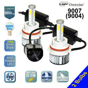 4 sides 2x 9007 9004 Hb5 Cob Led Headlight Kit Hi lo Power Bulbs 6000k White