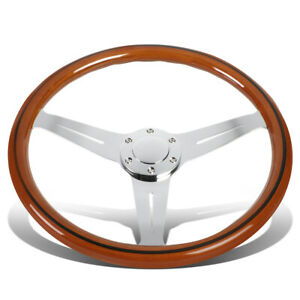 380mm Wood Grain Grip Vintage Steering Wheel 2 Deep Dish Stainless Steel Spokes