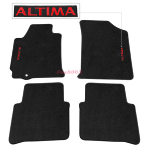 Fits 07 12 Nissan Altima 4dr Black Nylon Floor Mats Carpets W Red Altima