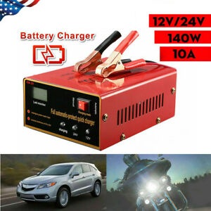 Car Motorcycle Lead Acid Battery Charger Full Automatically 12v 24v 10a 140w