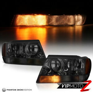 For 99 04 Jeep Grand Cherokee Wj clear Signal Bar Smoke Headlights Assembly