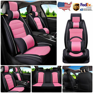 Pu Leather Car Seat Covers Pink Steering Wheel Cover pillows Full Set Universal