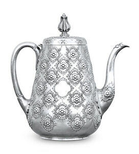 Sterling Silver English Tea Pot By Robert Hennell 1872 Persian Pattern Rare