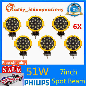 6x 7inch 51w Round Off Road Led Work Lights Spot Slim Yellow Bumper Driving Suv
